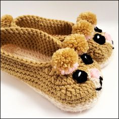 Crochet slippers Tan hamster slippers youth size by CKCbyCharlyn