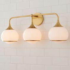 Mid Century Bathroom Vanity, Mid Century Modern Bathroom, Gold Bathroom, Bathroom Ideas, Bath Ideas, Master Bathroom, Bathroom Inspo, Small Bathroom, Bathroom Light Fixtures