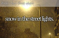 things i love about winter - snow in the street lights