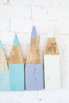Perchero lápices madera diy : via La Chimenea de las Hadas