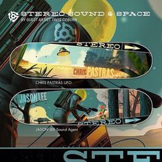 """Stereo Sound & Space Series - Art by Tavis Coburn @tavisco1 -  the J.Lee is available in 8.0"""" and 8.33"""" and Pastras UFO is in 8.125"""" and 8.25"""". Shipping to shops now via @syndromedist, a limited number are also available at stereosoundagency.com."""