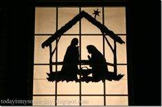 Window Nativity Silhouette -- I really want to do this. I want an outdoor Nativity so bad. I just don't want anything that would blow away. This would be perfect. Christmas Window Display, Christmas Nativity, Outdoor Christmas, Country Christmas, Christmas Time, Merry Christmas, Christmas Decorations, Christmas Ornaments, Christmas Lights