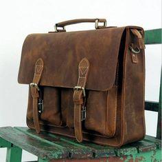 "Vintage Handmade Crazy Horse Leather Briefcase / Messenger Bag -- with a 14"" 15"" Laptop / 13"" 15"" MacBook Sleeve(556)"
