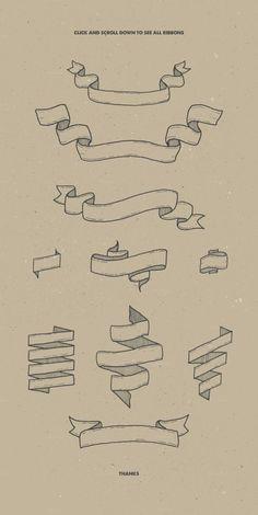 Fonts Alphabet Discover 10 Vintage Ribbons Bonus by Pavel Korzhenko on Creative Market Bullet Journal Ideas Pages, Bullet Journal Inspiration, Bullet Journal Ribbon, Drawing Tips, Drawing Reference, Pose Reference, Drawing Ideas, Lettering Tutorial, Doodle Art