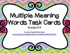 Multiple Meaning Words Task Cards will give your students ample practice with identifying There are many ways you can use these in your class: i. Reading Intervention, Reading Skills, Teaching Reading, Word Study, Word Work, Speech And Language, Language Arts, Intermediate Grades, Multiple Meaning Words