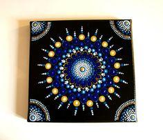 Articoli simili a Mandala Painting on Canvas - Dot Painting - Blue Decor- Acrylic Paint - Quadro Mandala 20cmx20cm su Etsy