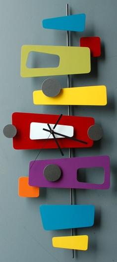 Googie-inspired modern retro metal art sculpture clocks by Steve Cambronne Mid Century Art, Mid Century Decor, Mid Century Modern Design, Mid Century Style, Retro Art, Mid-century Modern, Ideas Prácticas, Retro Furniture, Plywood Furniture