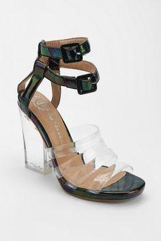 NWB JEFFREY CAMPBELL BLOWOUT Iridescent Black Leather & Lucite Heels sz UK5 EU38 #JeffreyCampbell #OpenToe #Party