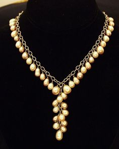 """Natural cultured freshwater pearl and solid sterling silver necklace. Approximately 15""""/38cm 17.5""""/44cm long. Cultured freshwater pearls are symbolic of prosperity and beauty and are thought to enhance integrity. They are used in the treatment of digestive disorders and for increasing vitality and understanding. Silver encourages self-containment and inward reflection. It provides one with patience and perserverance and can be a window to the Soul. It supports one s efforts to go within and…"""