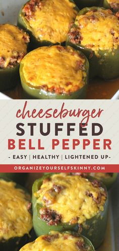 Stuffed Peppers filled with all the makings of a juicy cheeseburger. This might be one of the best stuffed stuffed pepper recipes ever. Healthy Stuffed Bell Peppers, Baked Stuffed Peppers, Recipe For Stuffed Peppers, Enchilada Pasta, Healthy Ground Beef, Ground Beef Recipes Easy, Meals To Make With Ground Beef, Easy Meal Prep, Easy Meals