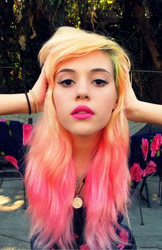 Butter yellow, Pink & Peach hairs ... ombre-y thing goin on