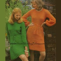 Vintage+Crochet+Pattern+Green+Dress+Orange+Dress+PDF+by+wonkyzebra,+$3.00