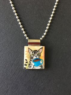 Kitty jewelry, kitty pendant, handmade kitty necklace, kitty cat jewelry, recycled scrabble tile jewelry, cat lover's gift, cat jewelry by InSmallPackages on Etsy