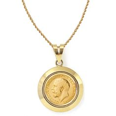 St christopher medallion pendant necklace in 14k gold coin american coin treasures 14k gold king george v gold sovereign coin dome bezel pendant necklace mozeypictures Images