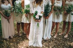 Green Leafy Bouquets | Bohemian Backyard Wedding in Milwaukee: Rea + Danny