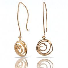 Long Swirl Vermeil Earrings by Lori Gottlieb (Gold & Silver Earrings)   Artful Home