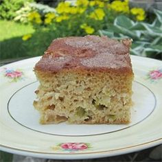 Rhubarb is baked into a streusel-topped coffee cake. Oma always makes this for her grand kids after she picks through her garden. Probably not good for the thighs but Oma's cooking is always good for the taste buds.