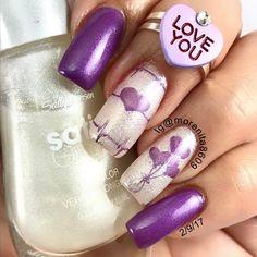 Valentine Nails   #purplenails #valentinenails #nailart #sanvalentin