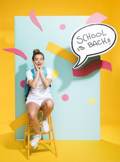 Schoolgirl with speech bubble template Free Photo Kids Branding, Branding Kit, Back To School Displays, Photo Zone, Photoshoot Concept, Paint Photography, Creative Advertising, Schoolgirl, Coloring For Kids