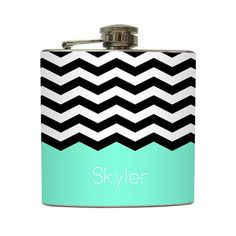 Chevron Personalized Flask with Your Name Black by LiquidCourage, $22.00