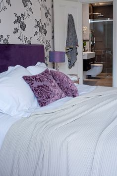 #luxury #bedroom designed by, @Anne-Marie Taylor , The DecorCafe expert member, helping people to #createthehomeyoulove www.thedecorcafe.com #purple
