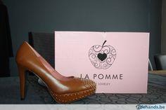 La Pomme - Cognac decolté schoenen Plateau + deco nageltjes - Te koop