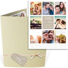 Faire part mariage pochette sous forme de pêle mêle personnalisable avec des photos de votre histoire d'amour, ref N92004