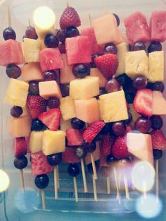 Party Kabobs for our workout class today!