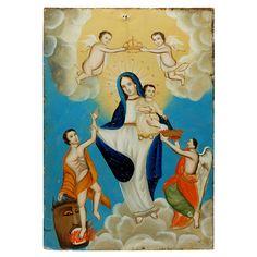 19th Century Mexican Folk Retablo Painting - Madre de la Luz