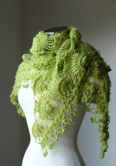 Green Crochet Shrug Shawl Bolero / Winter Accessories / Poncho / Scarf / Neckwarmer / Bridal Shrug Shawl