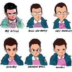 #StrangerThings Eleven en différents styles #Dessin toonimated_draws