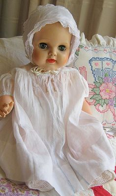 pretty vintage baby doll in vintage bay dress ,delicate with embroidery | Flickr : partage de photos !