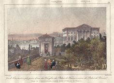 Turkey, Istanbul, view of Constantinople, 1847. Fransız elçiliği bahçesi