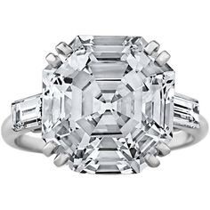 Preowned Important French Art Deco 7.72 Carat Gia Cert Asscher Cut... ($495,000) ❤ liked on Polyvore featuring jewelry, rings, multiple, platinum ring, art deco engagement rings, engagement rings, art deco ring and preowned engagement rings