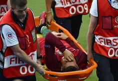 Cristiano Ronaldo of Portugal shows his emotion while being taken off by a stretcher during the UEFA EURO 2016 Final match between Portugal and France at Stade de France on July 2016 in Paris, France. Ronaldo Photos, Match Of The Day, Uefa Euro 2016, We Are The Champions, European Championships, Tears Of Joy, Plein Air, Cristiano Ronaldo, Real Madrid