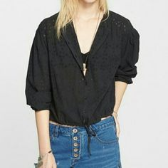 """Free People eyelet jacket/top Super light layer.   Looks really cute with the sleeves cuffed and waist cinched using the drawstrings like in pic 1 or 3  Brand new with tags  Laying flat measurements: - 21"""" from armpit to armpit - 21"""" length  100% cotton. Hand wash cold  🚫no trades🚫 Free People Tops"""