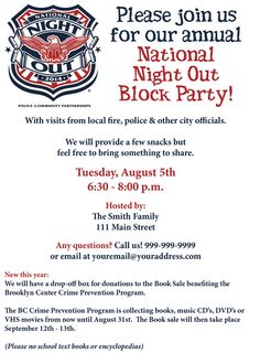 National Night Out Invite - NNO