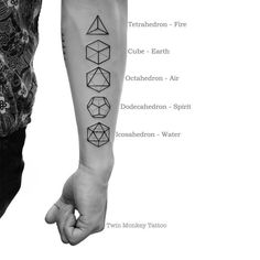 Twin Monkey Tattoo - Yuki Onna - Twin Monkey Tattoo Platonic Solid In three-dimensional space, a Platonic solid is a regular, convex polyhedron. It is constructed by congruent regular polygonal faces with the same number of faces meeting at each. Dreieckiges Tattoos, Body Art Tattoos, Sleeve Tattoos, Tatoos, Buddha Tattoos, Mini Tattoos, Element Tattoo, Tattoo Muster, Monkey Tattoos