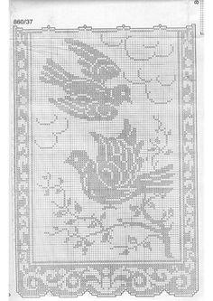 World crochet: Curtain 29 Crochet Patterns Filet, Crochet Curtain Pattern, Knitting Machine Patterns, Crochet Curtains, Crochet Motifs, Crochet Doilies, Cross Stitch Patterns, Crochet Birds, Crochet Butterfly