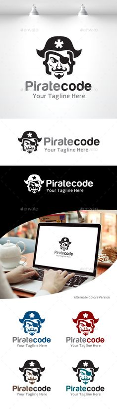 Pirate Code Logo — Vector EPS #studio #code • Available here → https://graphicriver.net/item/pirate-code-logo/11158251?ref=pxcr