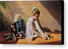 Dancer Canvas Print featuring the painting Denim To Lace by Greg Olsen