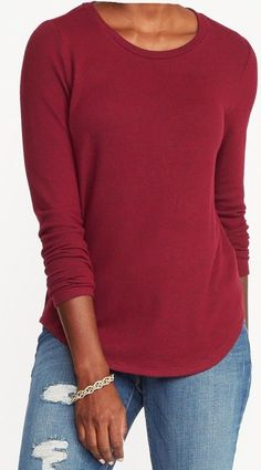 64a697eb5bb16 OLD NAVY Women long sleeves Relaxed plush Knit Tee shirt Cranberry Plus Size  XXL  OldNavy