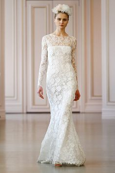 Beautiful all lace wedding dress by Oscar de la Renta, Spring 2016