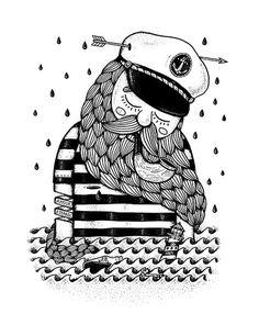 Framed Art Print by Alejandro Giraldo Art Et Illustration, Illustrations, Doodle People, Ocean Art, Pearl Jam, Poster, Doodle Art, Framed Art Prints, Creative Art