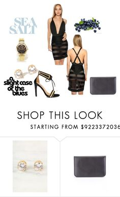 """""""The Blues"""" by amiclubwear ❤ liked on Polyvore featuring blackandgold, highheels, MeshDress, diamondearrings and amiclubwear"""