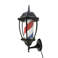 """MPN:CRS200406 Crosslinks is excited to offer this brand new 20"""" barber pole style porch lamp. Great for business, home, or office! This old-fashioned barber shop porch lamp spins and lights up to attr"""