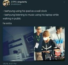 Lol he's not Taehyung if he's not extra Bts Memes Hilarious, Bts Funny Videos, K Pop, Bts Tweet, Bts Quotes, V Taehyung, Jimin Jungkook, About Bts, Dad Jokes