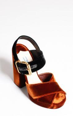 Two-tone Velvet Sandals from Prada