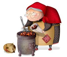 "I'm calling this lady ""Little Red Riding Hood's Grandmother"" ! Autumn Crafts, Nature Crafts, Autumn Nature, Sketchbook Inspiration, Children's Book Illustration, Red Riding Hood, Little Red, Designs To Draw, Cute Art"