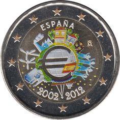 España 2012 2 € euros conmemorativos X Aniversario del euro Color